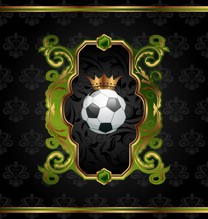 Illustration football label with golden crown - vector Vector