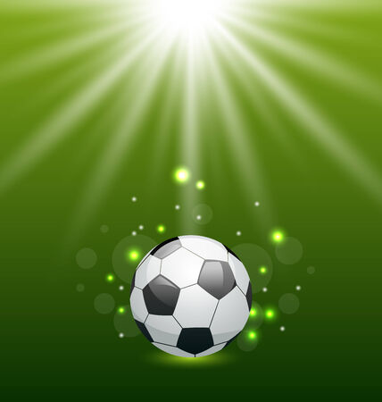 Illustration football background with ball and light effect - vector