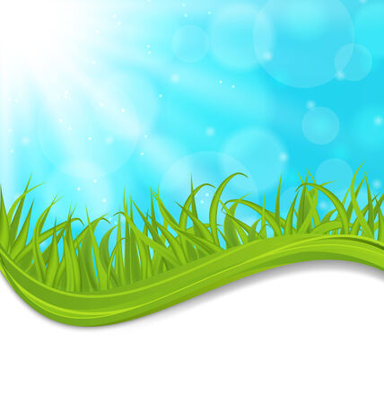 Illustration spring natural card with green grass - vector Vector