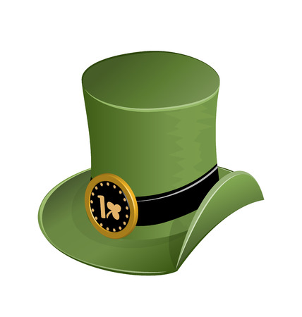 patrik day: Illustration of green hat in saint Patrick Day - isolated on white - vector Illustration