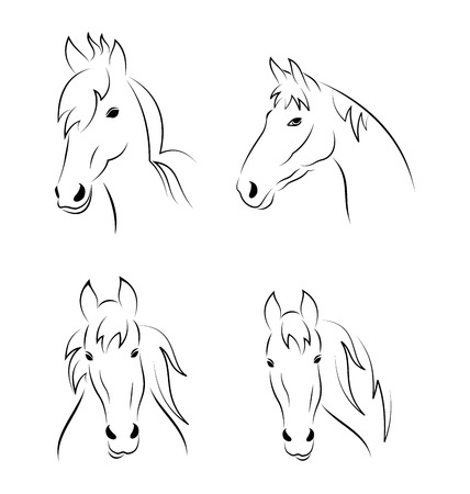 horsehair: Illustration set symbols outline head horse isolated on white background - vector