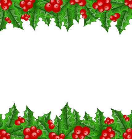 holly leaves: Illustration Christmas decoration holly berry branches - vector