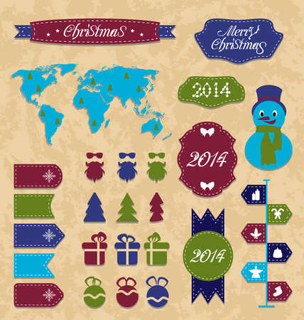 Illustration set Christmas Infographic design elements, group label and ribbon - vector Vector
