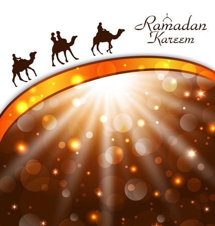 Illustration celebration card with camels for Ramadan Kareem - vector Vector