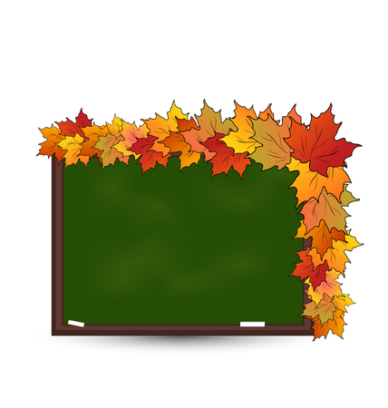 Illustration school board with maple leaves isolated - vector Vector
