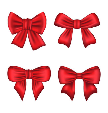Illustration set red gift bows isolated on white background - vector Vector