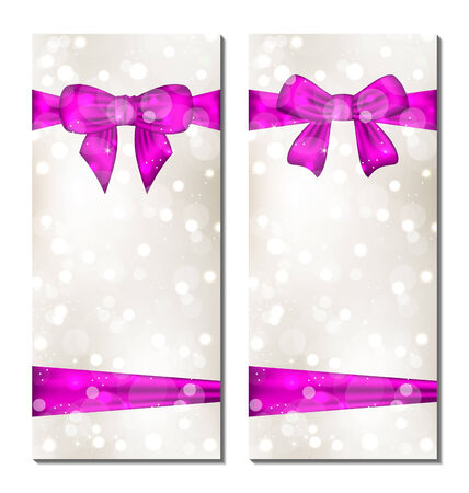 Illustration set of cute cards with gift bows - vector Vector
