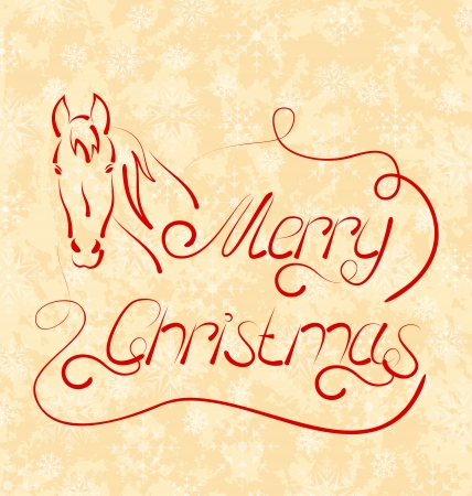 Illustration calligraphic Christmas lettering with horse - vector Vector