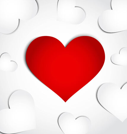 vector hearts: Illustration card of Valentines day with paper hearts - vector