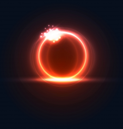 light burst: Illustration glowing frame with light effects, hi-tech background - vector