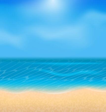 oceanside: Illustration summer holiday background with sunlight - vector
