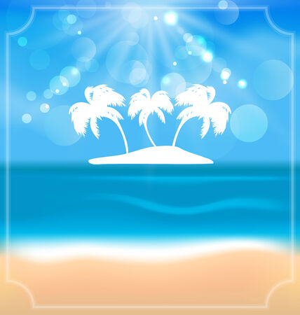 oceanside: Illustration holiday summer card with beautiful beach and palms - vector