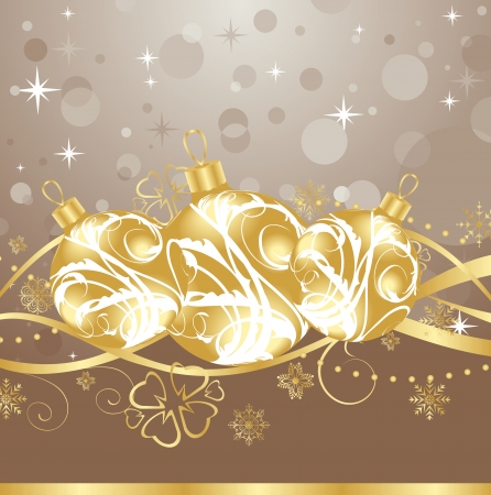 Illustration background with Christmas balls and tinsel - vector Vector