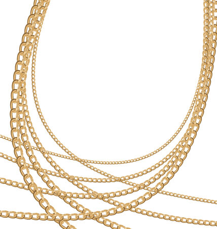 necklet: Illustration of set jewelry gold chains different size - vector eps10