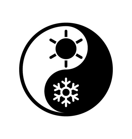 yinyang: Illustration of symbol climate balance in shape yin-yang - vector isolated Illustration