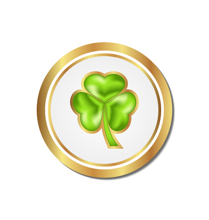 Illustration shamrock sticker isolated for Saint Patrick day - vector  Vector