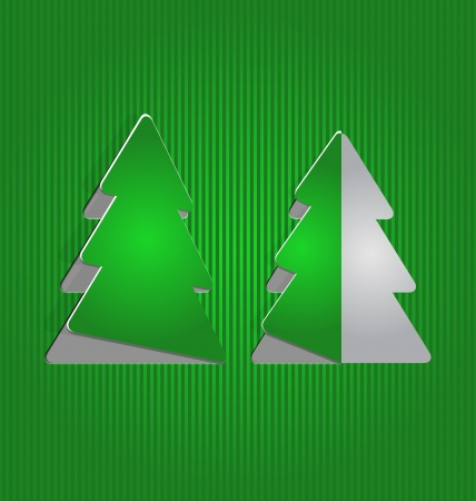 Illustration Christmas cutout paper tree, minimal background - vector Vector