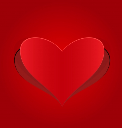 Illustration of heart red cut from paper - vector Vector