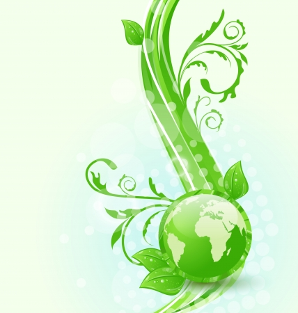 Illustration wavy background with global planet and eco green leaves - vector Vector