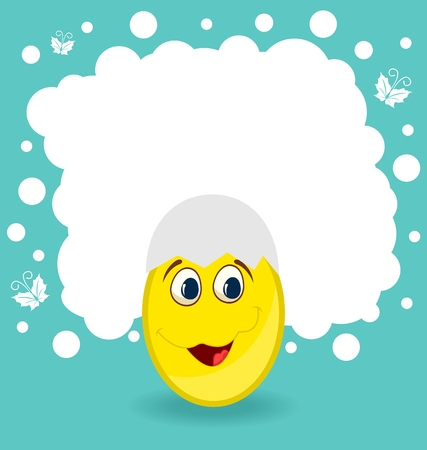 Illustration Easter card with egg character - vector Vector