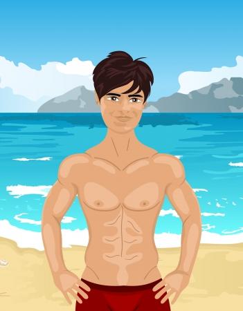 brawny: Illustration brawny man on beach - vector Illustration