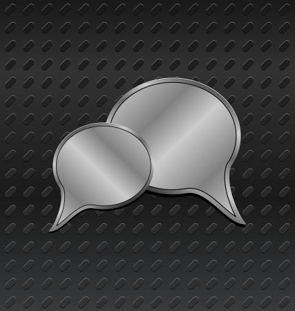Illustration shiny metallic speech bubbles on aluminum backgrounds - vector Stock Vector - 24333644