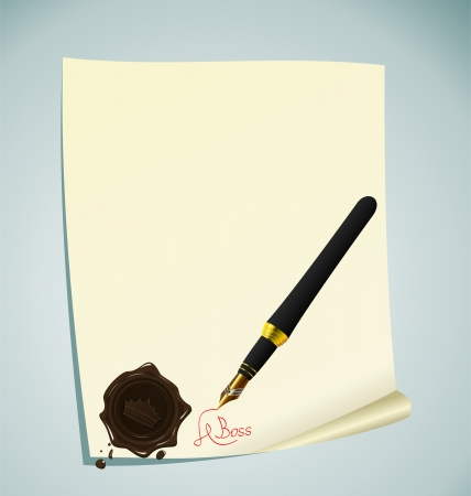 signing document: Illustration of hand-draw lettering on the paper with wax stamp - vector