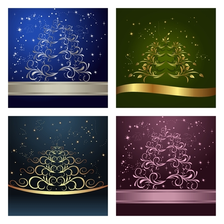 Set Celebration cards with abstract christmas floral tree - Vector Vector