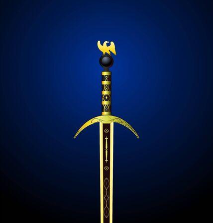 hilt: Illustration of a magic gold sword with an eagle on a hilt - vector