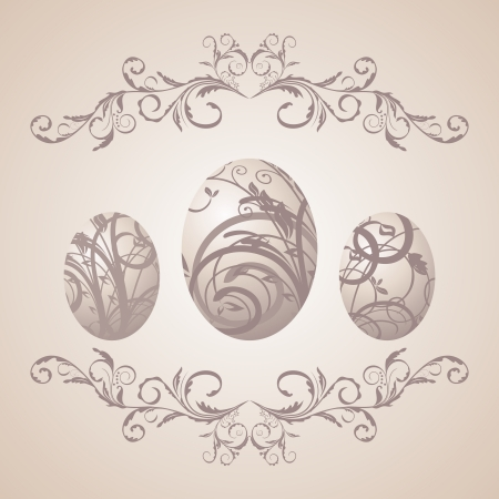 pascua: Illustration vintage Easter background with eggs - vector Illustration