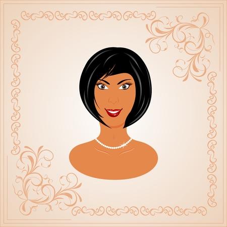salud sexual: Retrato de ilustraci�n marco floral cara de ni�a hermosa - vector