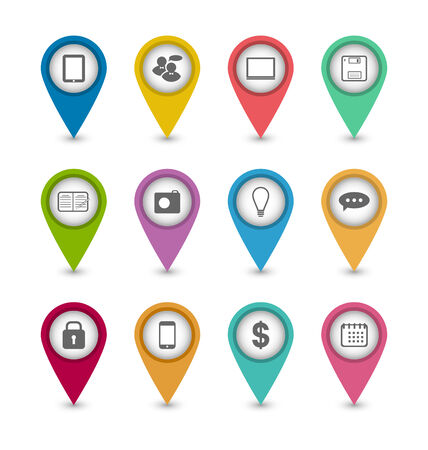 Illustration group business pictogram icons for design your website - vector Vector