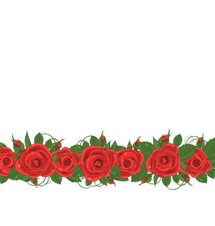 macro leaf: Illustration horizontal border with red roses - vector