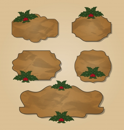 artboard: Illustration set crumpled paper label with holly berry - vector