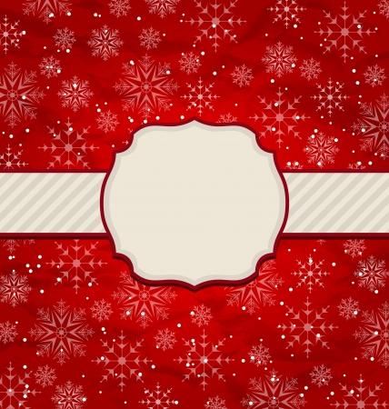 artboard: Illustration Christmas vintage invitation with snowflakes - vector
