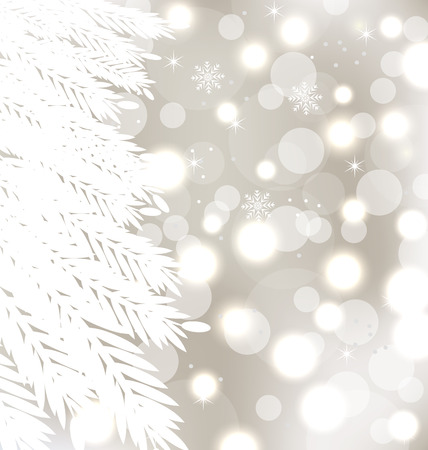 furtree: Illustration abstract winter glowing background with fur-tree - vector