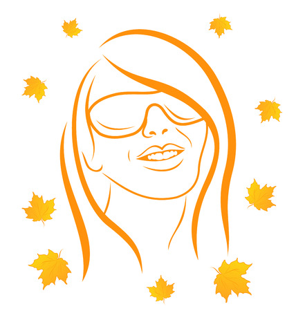 Illustration abstract face autumn girl portrait - vector