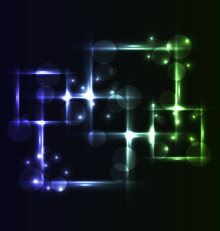 set square: Illustration abstract background, set square bubbles with light effects - vector