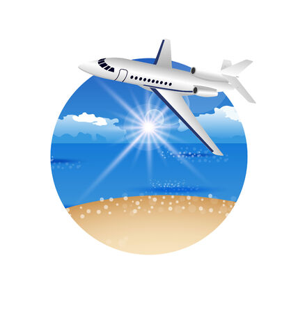 oceanside: Illustration beautiful summer postcard with beach and plane - vector
