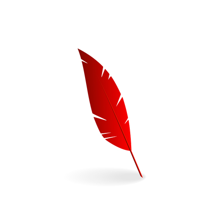 Illustration red feather isolated on white background - vector Stock Vector - 24341543