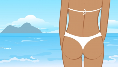 buttocks: Illustration buttocks of young girl on summer sun background - vector