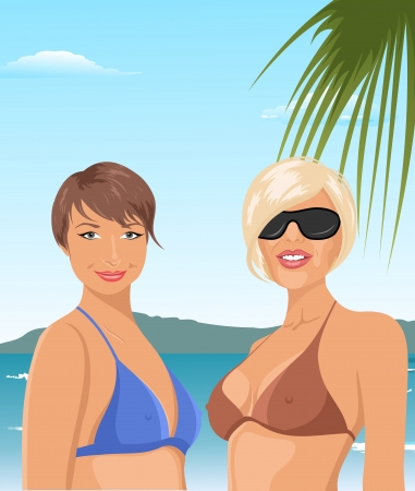 Illustration two girls on the beach - vector Vector
