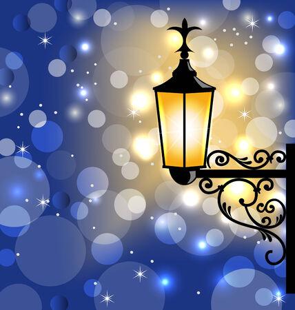 aglow: Illustration vintage street lamp, dark winter background - vector