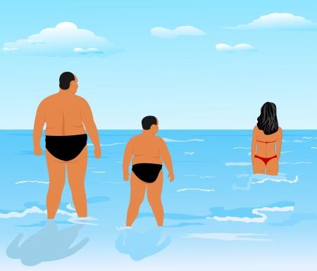Big Ass: Illustration deux hommes �pais (p�re et fils) regardent girl de beaut� - vecteur