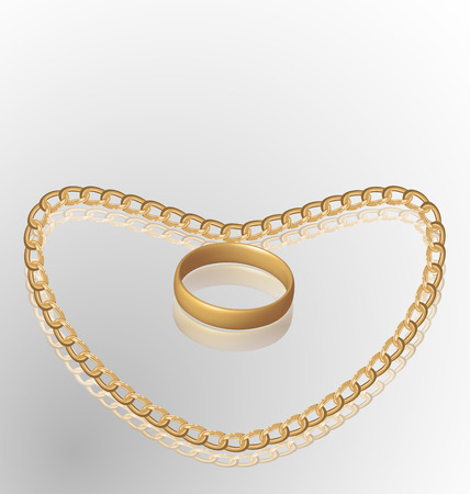 necklet: Illustration of jewelry ring on golden chain of heart shape