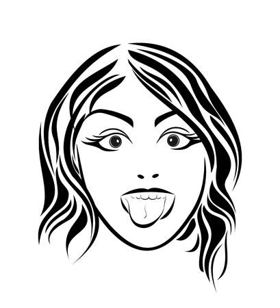 girl tongue: Illustration girl putting out the tongue. Close up - vector