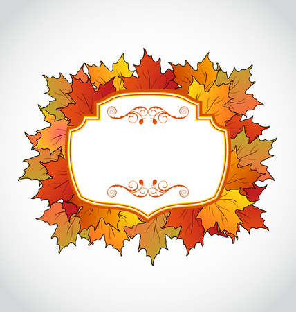 Illustration autumnal floral card with colorful maple leaves - vector