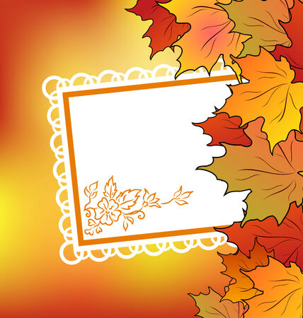 Illustration autumn maple leaves with floral greeting card - vector