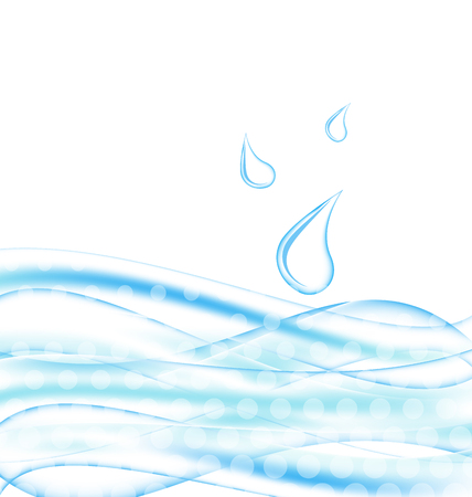 Illustration abstract water background with drops - vector  Vector