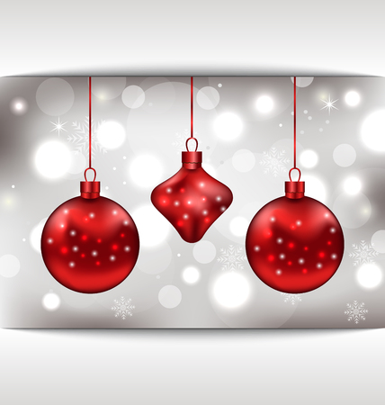 Illustration holiday glowing card with Christmas balls - vector Vector